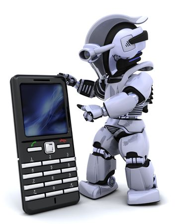 3D render of a robot character witha a smart phone photo