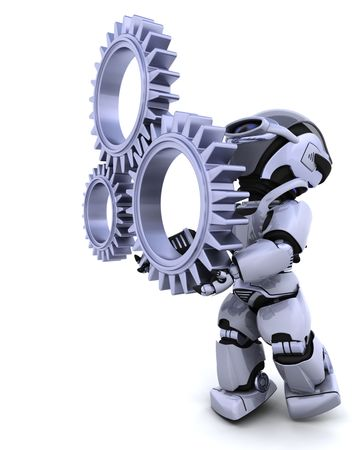 mechanical engineering: 3d Render of a robot with gear mechanism Stock Photo