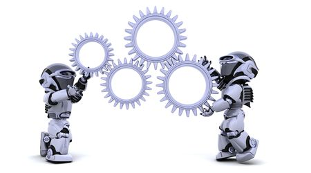 3d render: 3d Render of robots with gear mechanism