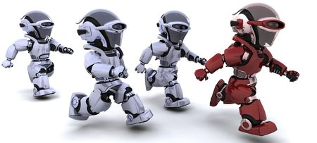 3d Render of robots competing in a race photo