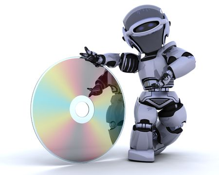 rom: 3D render of a robot with optical media disc