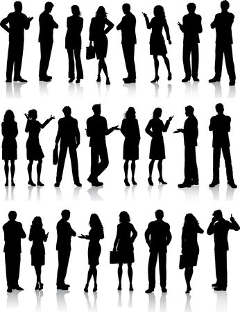 Large collection of silhouettes of business people in various poses Vector
