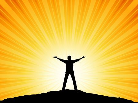 worshipping: Silhouette of a man with his arms raised to the sky Illustration