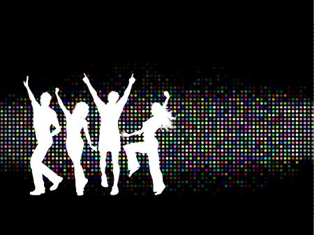 Silhouettes of people dancing on a colourful background Stock Vector - 6622327