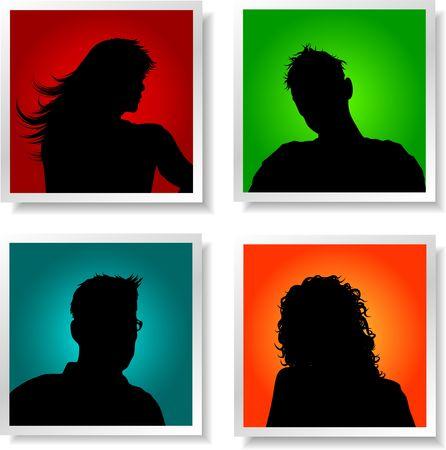Avatares de la gente en fondos con colores brillantes
