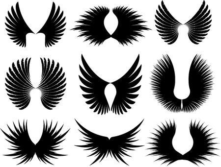 angelic: Varios dise�os diferentes de ala silhoeuttes Vectores