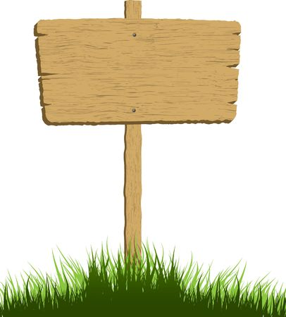 wood sign: Wooden sign in grass with a white background