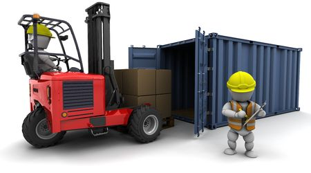 3d render of man in forklift truck loading a container photo