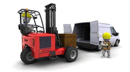 3d render of man in forklift truck loading a van Stock Photo - 6664281