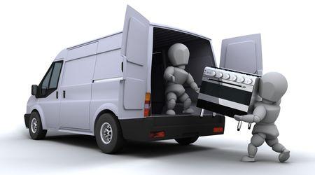 3D render of removal men loading a van photo