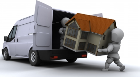3D render of removal men loading a van photo
