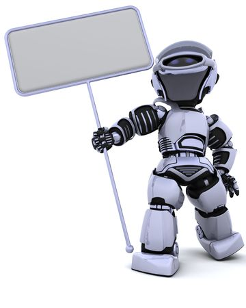 future sign: 3D render of a robot and blank sign Stock Photo