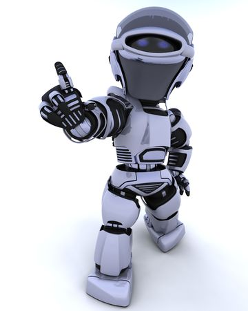 3D render of a robot introducing or presenting Stock Photo - 6664264