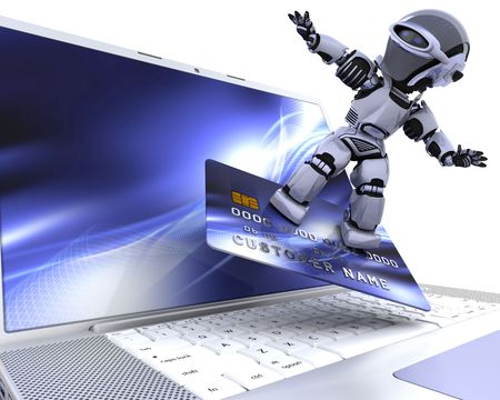 plastic money: 3D render of a robot and charge card Stock Photo