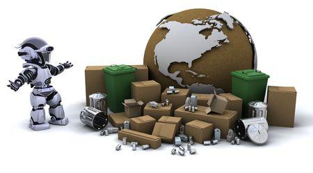 3D Render einen Roboter mit Müll und Papierkorb kann