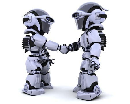 3d render of two robots shaking hands photo