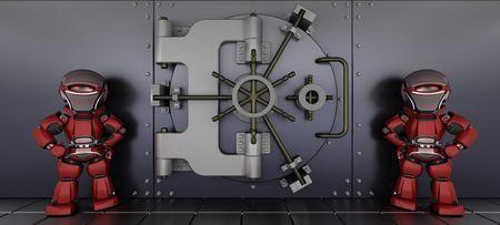 3D render of a robots guarding a bank vault photo