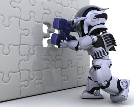 final piece of puzzle: 3D render of a robot with the final piece of the jigsaw puzzle