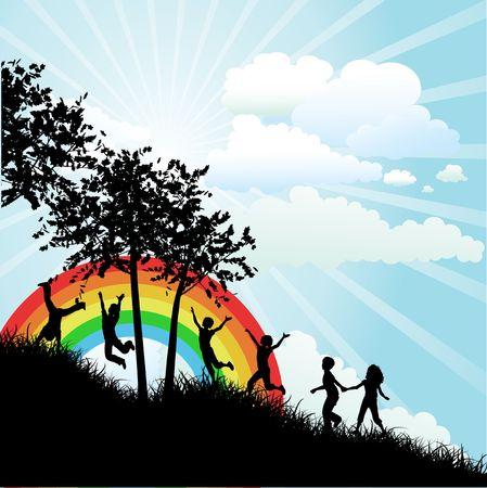silueta niño: Siluetas de niños corriendo hasta una colina cubierta de hierba en un día soleado