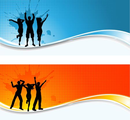 Silhouettes of people dancing on abstract grunge backgrounds Stock Photo - 6707504