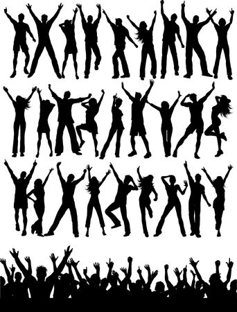 Large collection of silhouettes of party people and crowd Stock Photo - 6707501