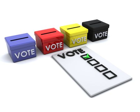 3D render of election day ballot boxes Stock Photo - 6758821