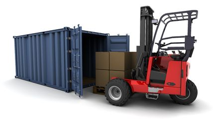 3d render of forklift truck loading a container photo