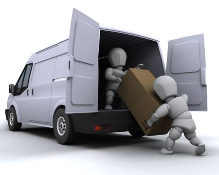 moving crate: 3D render of removal men loading a van