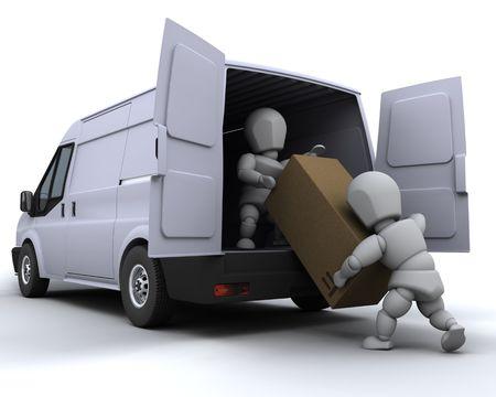 cargo van: 3D render of removal men loading a van
