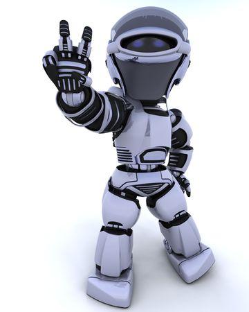 robot: 3D de procesamiento de un robot de presentar el signo de la paz Foto de archivo