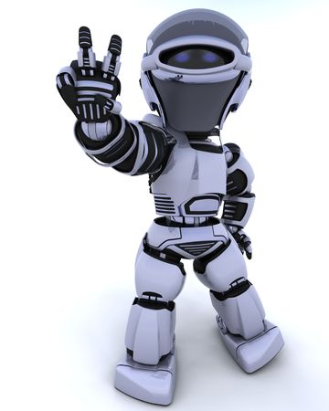 robot: 3D render of a robot presenting peace sign