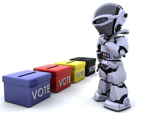 electronic voting: 3D render of election day ballot boxes
