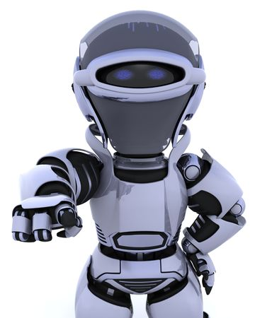 3D render of a robot pointing back out at you Stock Photo - 6758836