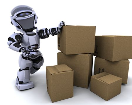 3D render of a robot moving shipping boxes photo