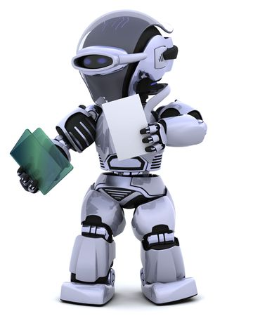3D render of robot with document and folder Stock Photo - 6758837