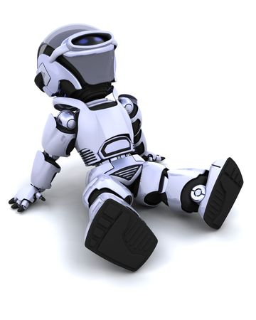 3D render of a robot sitting back and relaxing Stock Photo - 6758832