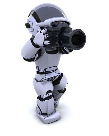 3D render of a robot with digital SLR Camera