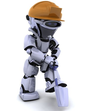 3D render of a construction robot with spade Stock Photo - 6758829