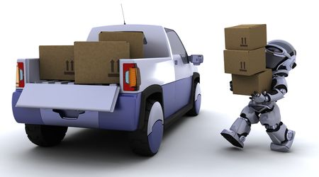 3D render of robot loading boxes into the back of a truck Stock Photo - 6758840