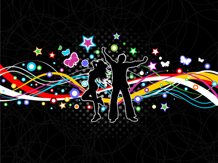 Silhouettes of people dancing on a colourful abstract background Vector