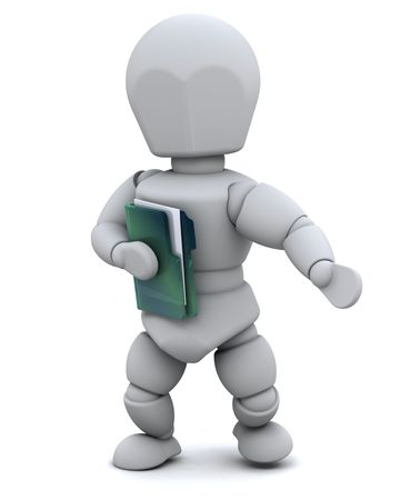 3D Render of a man with document folder photo