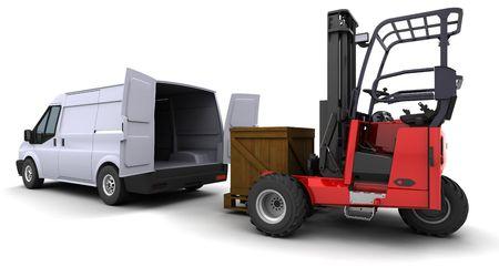 load: 3d render of forklift truck loading a van