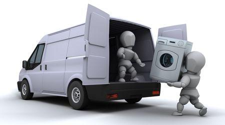 moving van: 3D render of removal men loading a van