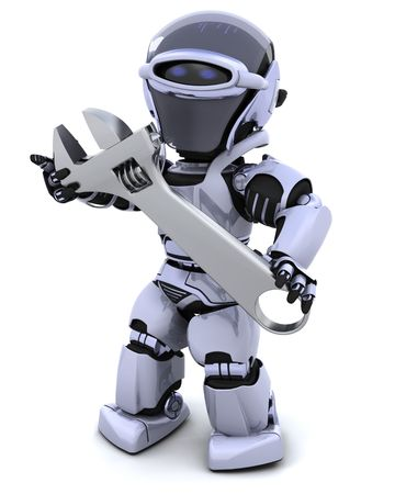 3D render of a robot and adjustable wrench Standard-Bild
