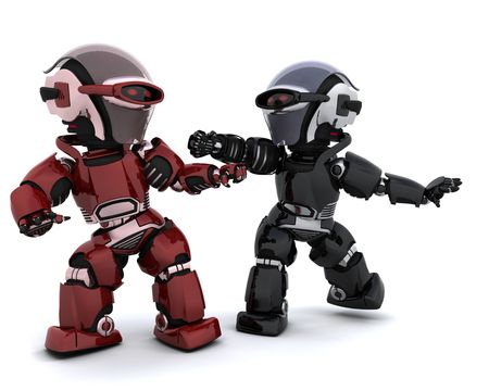3D render of a pair of robots in conflict Stock Photo - 6811431
