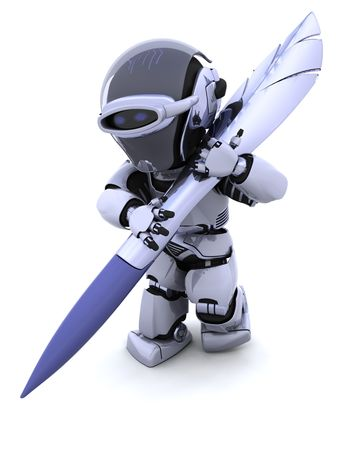 autograph: 3D render of a robot writing with pen Stock Photo