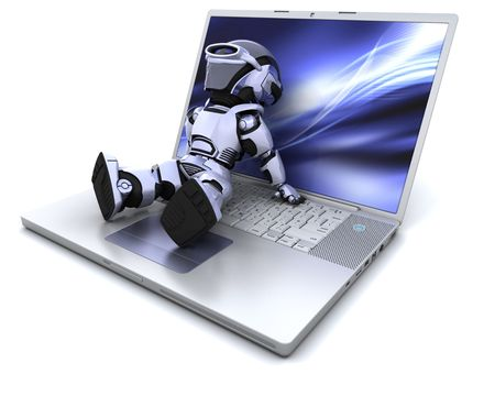 chrome man: 3D Render of a robot relaxing on a  laptop Stock Photo