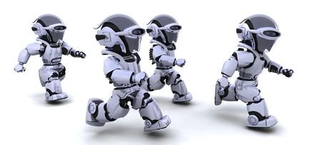 running race: 3d Render of robots competing in a race