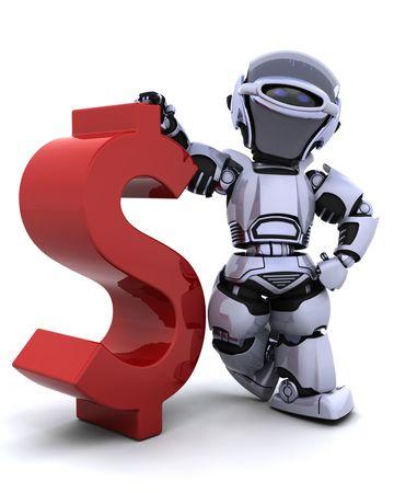 3D Render einen Roboter mit einem symbol