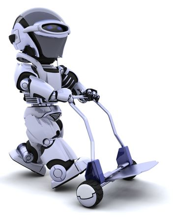3D render of a robot walking with sack truck Stock Photo - 6841445